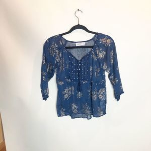 Abercrombie & Fitch Navy Navy and Gold Floral Top